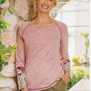 Soft Surroundings Tee S Floral Cuffs Marled Boho